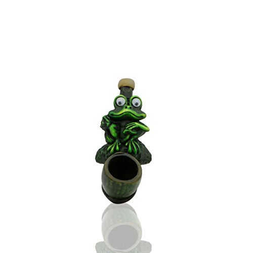 Handmade Mimi Tobacco Pipe Hand Painted Art Collectible (MINI FROG 1) (Lighter Frog)