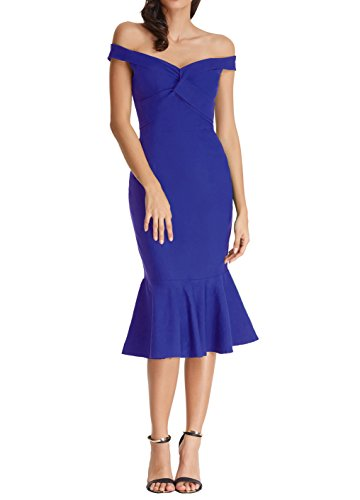 Women's Sexy Off Shoulder Mermaid Bodycon Midi Dress for Cocktail BP336-4 Blue ()