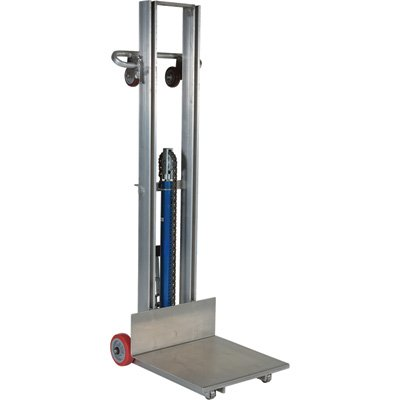 Vestil ALLH-2020-FW Aluminum Lite Load Lift, 400 lb. Capacity, Foot Pump, 3-1/8''-51-1/8'' Height Range, Overall 20-1/16'' Width x 59-9/16'' Length x 62'' Height, 20'' x 20'' Platform