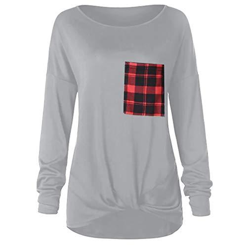 AMOFINYWomen's Long Sleeve Plaid Pocket Top Side Knotted Tunic Blouse Shirt