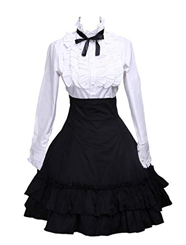 (Antaina Black Cotton Pleated Lolita Skirt and Victorian Bow Tie)