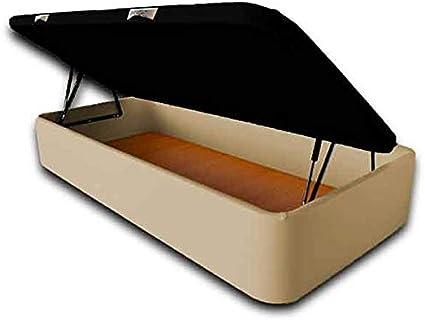 Ventadecolchones - Canapé Abatible Apertura Lateral Serena Gran Capacidad Tapizado en Polipiel Crudo Medidas 120 x 180 cm con Tapa en Tejido 3D