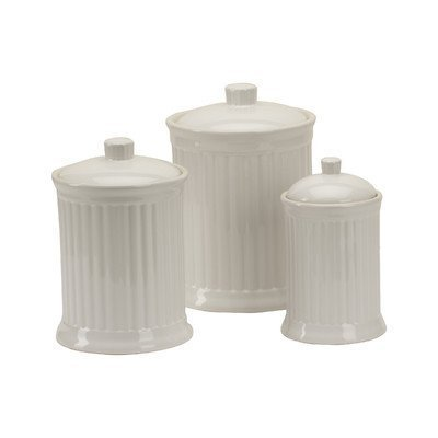 - OmniWare Simsbury White Stoneware Canister, Set of 3