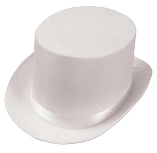 Mini White Satin Sailor Hat - White Satin Top Hat Magician NEW (LOT OF 10) for New Years Eve Party