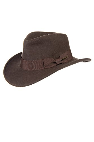 Indiana Jones Crushable Wool Fedora Hat, BROWN, Size Large (7 1/4–7 3/8) (Jones Hat)