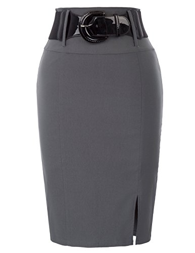 Belle Poque Women Wear to Work Stretchy Pencil Skirt with Belt Gray Size M BP762-2