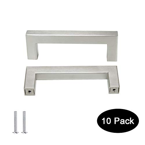 10 pack Probrico 1/2 in Stainless Steel Square Corner Bar Kitchen Cabinet Door Handles Brusehd Satin Nickel Hole Centers 3-3/4 inch 96mm ()