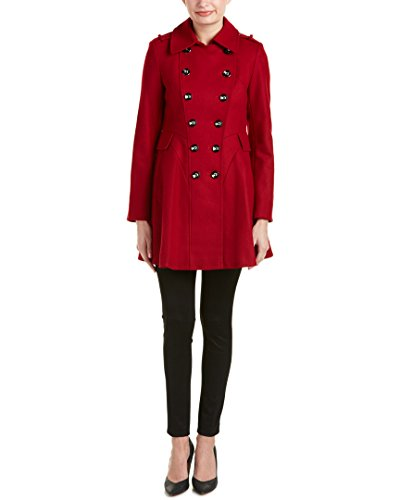Via Spiga Womens Red Double-Breasted Wool Coat, 6, Red