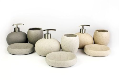 Dunkelgrau 3 Stück Stein Keramik Badezimmer Set Seifenbehälter ... | {Badaccessoires stein 6}