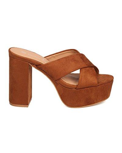 BETANI Women Faux Suede Block Heel Sandal - Casual, Versatile, Everday, Dressy - Platform Heels - GB96 by Camel