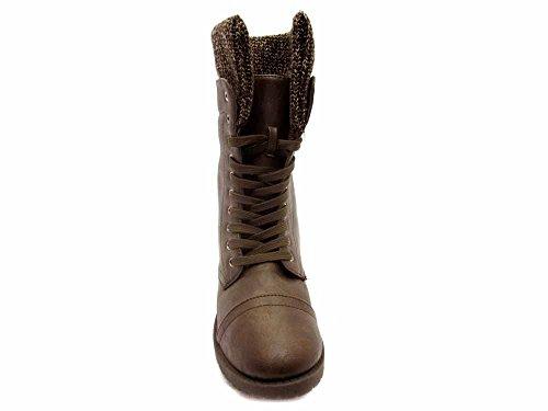 BLUE WOMENS Fashion Almond Toe Synthetic Military Mid Calf Dress Boots Mocha whKqP8s