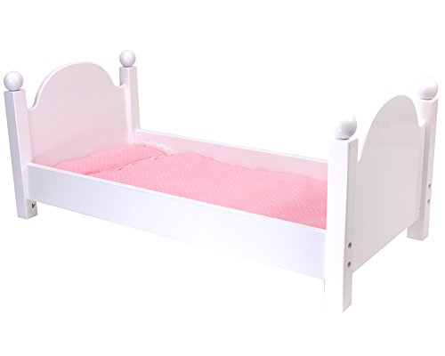 White Wooden Doll Bed with Bedding for 18 Inch Dolls fits American Girl Dolls and Stuffed Animals, Easy to Assemble, 18 Inch Doll Sized White Single -