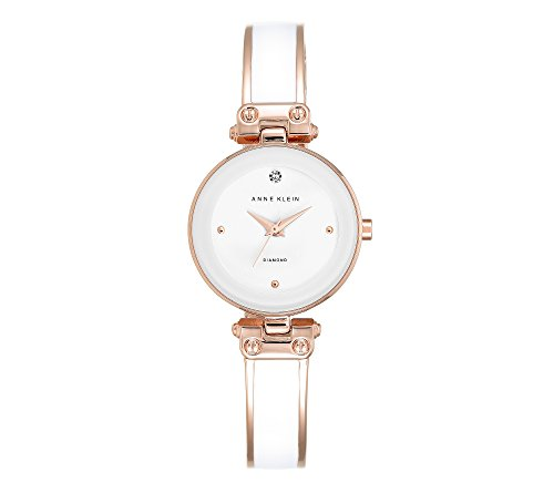Anne Klein White and Rose Goldtone Diamond Dial Bangle