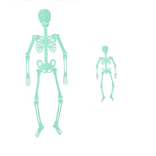 2PCS Halloween Hanging Luminous Skeleton Decorations, 36 Inch Full Body Glow-in-The-Dark Skeleton for Halloween Party Bar Wall Sticker Decorations Outdoor Yard Garden Hanging Ornaments Props