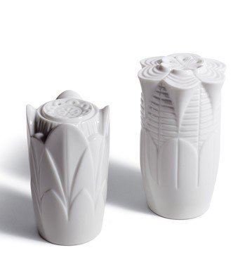 NATURO SALT & PEPPER SHAKERS ( WHITE ) Lladro Porcelain by Lladro Porcelain