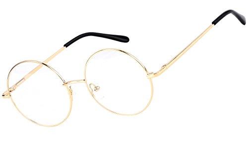 444b1379f9 Agstum Retro Round Prescription ready Metal Eyeglass Frame (Large Size)  (Gold)