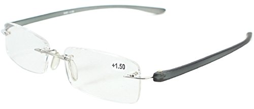 Sarah's Frameless Reading Glasses, Super Lightweight Rimless Readers Glasses for Men and Women +1.00 Black (Microfiber Pouch Included)