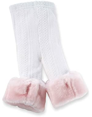 Baby Girls' Cable Knit Leggings With Pink Fur