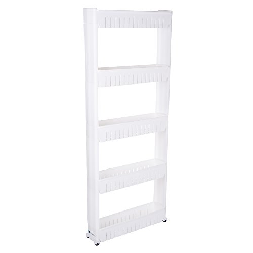 Mobile Shelving Unit Organizer with 5 Large Storage Baskets, Slim Slide Out Pantry Storage Rack for Narrow Spaces by Everyday Home (Canned Food Storage Rack)