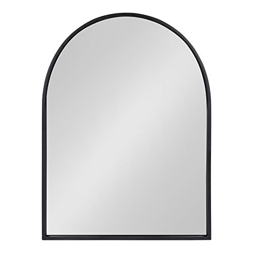 Kate and Laurel Valenti Metal Frame Arch Wall Mirror, Black, 24x32