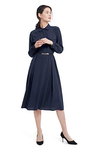 LilySilk Silk Dress for Women Long Sleeve Retro Graceful with Belt Shirt Dress Ladies Tunic Prom Navy Blue S/4-6