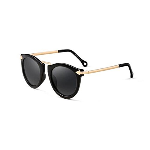 cara sol WLHW femenino viaje Black caja de viaje gafas polarizada redonda Marrón Color tendencia de de sol de moda Matte Retro UV Gafas decoración rTWnSrY