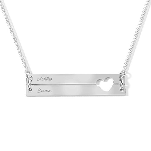 14K White Gold Engravable Double Bar Heart Necklace with a 18'' Chain by JEWLR by TSD