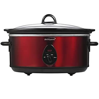 Brentwood SC-150R 6.5-Quart Slow Cooker, Red Tone