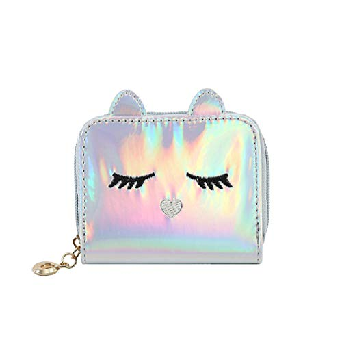 Orityle Holographic Animal Cat Face Short Wallet Small Coin Purse for Women Girls Ladies