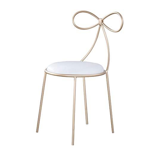 - HUIQI Dining Chair Simple Modern Leisure Chair Restaurant Chair Bow Makeup Chair High Chair Cafe Bar Chair Golden Art Chair Bar Chair Sitting Height 45cm