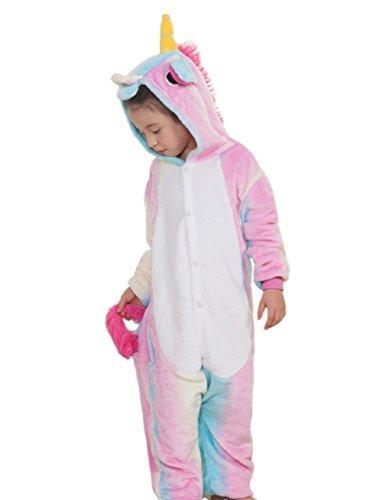 LeaLac Kids Animal Onesie Pajama Costume - Soft and Comfortable with Pockets Rainbow Blue 115 (Christmas Pajamas For Children)