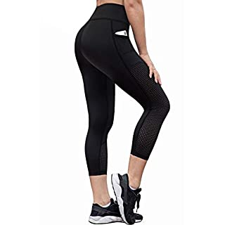 RAYPOSE Womens High Waist Workout Capris Leggings w Pockets Running Capri High Waisted Tummy Control Yoga Pants Non See Through for Women Workout Capri Black-M