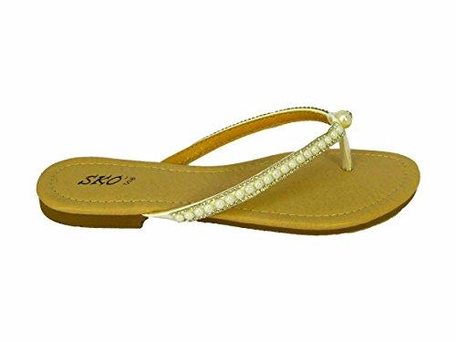 Ladies Womens Flat Diamante Toe Post Summer Beach HOILDAY Party Sandals Shoes SZ White (Wh1701-3) dmH3A