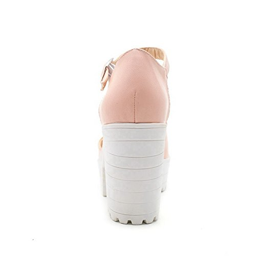 Allhqfashion Donna Morbido Materiale Fibbia Peep Toe Tacchi Alti Sandali-sandali Rosa