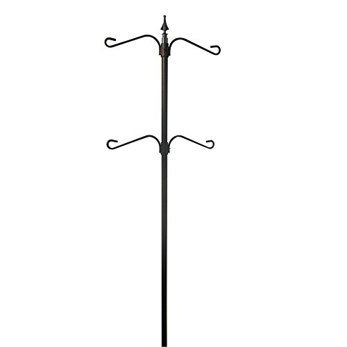 Garden Treasures 92-in Black/Powder Coating Steel Bird Feeder Post Mount