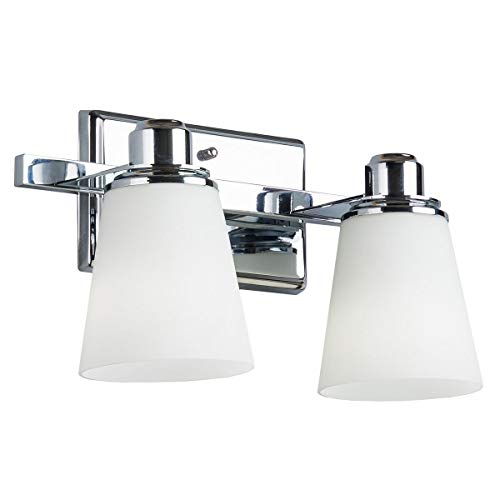 Terracina Two-Light Vanity Sconce Lamp, Polished Chrome with Opal Glass Linea di Liara LL-WL220-2 (Renewed)