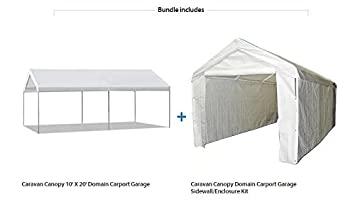 Caravan Canopy 10u0027 X 20u0027 Domain Carport Garage with Sidewall Enclosure Kit  sc 1 st  Amazon.com & Amazon.com: Caravan Canopy 10u0027 X 20u0027 Domain Carport Garage with ...