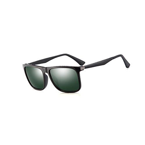 2020Ventiventi Shiny Black Frame/Green Lens Square Glasses 53mm Polarized Sunglasses with Aluminum Metal Temples