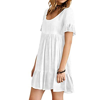 Women's Casual Plain Simple T Shirt Dresses Short Sleeve Ruffle Loose Flowy Swing Shift Dresses at  Women's Clothing store