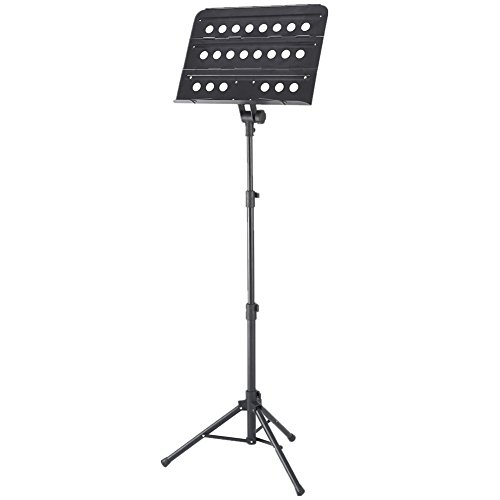 ADM Deluxe Collapsible Orchestra Aluminum Music Stand with Carrying Bag, LED Light