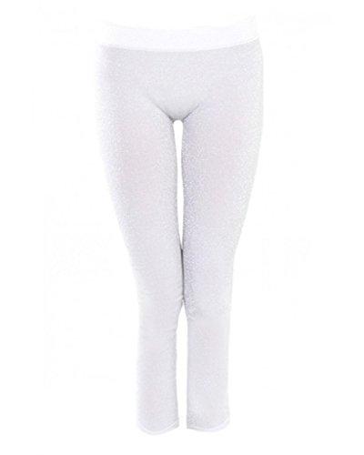 Sugar Lips Lurex Leggings-White-Silver