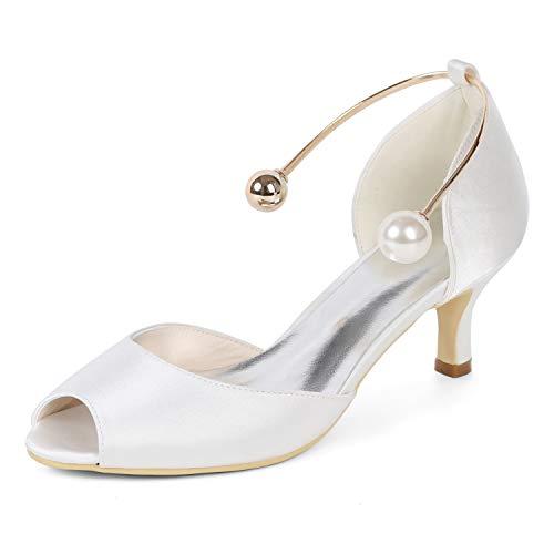 Spillo 6cm Sera L In Scarpe Da tacchi Sposa Fancy Raso White A tc Donna Tacco Corte Tq0wtq6