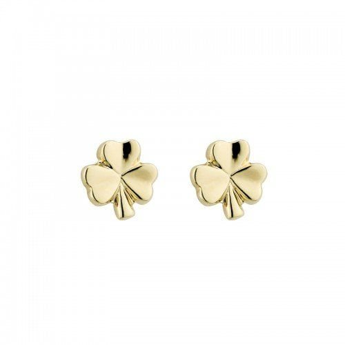 Small Shamrock Earrings Studs Yellow Gold Plated Made in Ireland by Solvar