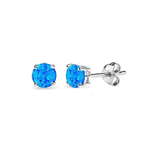 (Sterling Silver Simulated Blue Opal 4mm Round-Cut Solitaire Stud Earrings)