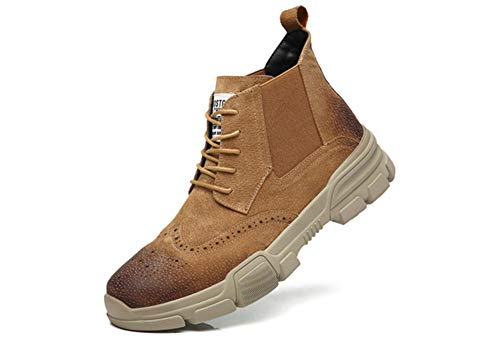 JIYE Casual Boots for Men Leather Bullock Carved Fashion Boots