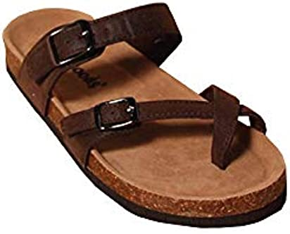 3ef1a25e78f8 Outwoods Womens Bork-30 Vegan Leather Adjustable Strap Toe-Loop Buckle Flats  Sandals (