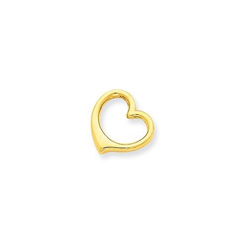 Polished Heart Slide (14 Yellow Gold 3-D Floating Heart Slide Pendant)