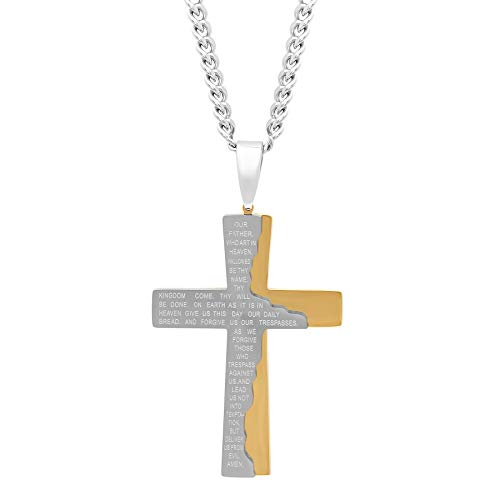Jewelry Nation Men's Stainless Steel IP Tablet Lord's Prayer Cross Pendant Necklace with Chain, 24