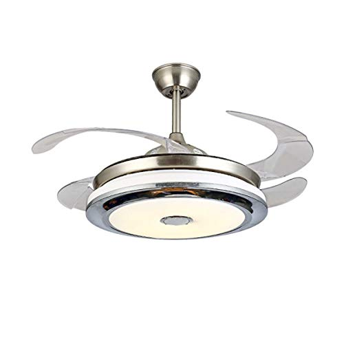 - 36 Inch Silent Ceiling Fan Light Modern Fan With 4 Reversible Blade Fan Chandelier LED Three-color Dimming with Remote Control