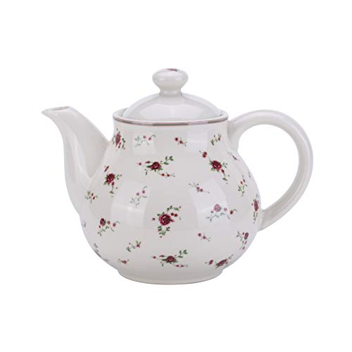 Lonovel Porcelain Teapots with Lids,Vintage Beautiful Rose Design Tea Pot Large Capacity for Afternoon Tea or Coffee,Home and Kitchen Pot Good Gifts,Beige ()